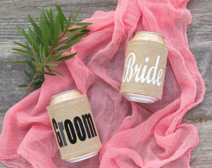 BRIDE GROOM CAN Coolers / Bride Groom / Burlap Cooler / Wedding Gift