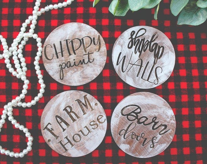 FARMOUSE WOOD COASTER Collection / Shiplap Chippy Paint Farmhouse Barn doors / Custom orders Welcome