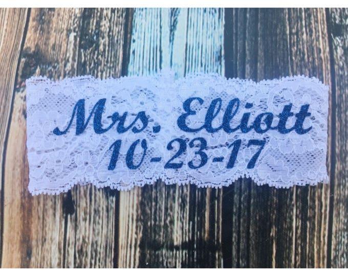SOMETHING BLUE BLING Bridal Garter / Wedding Date and Mrs Garter / lace garter / Something Blue