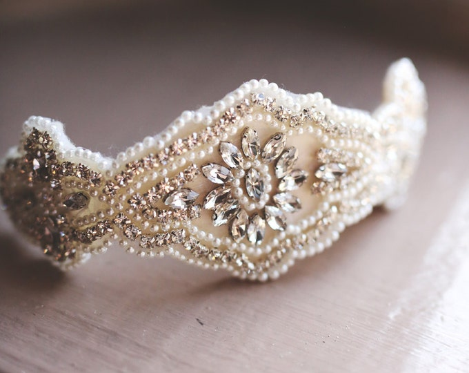 The Charlotte Rhinestone and pearl beaded hair piece / AS SEEN in The Big Fake Wedding