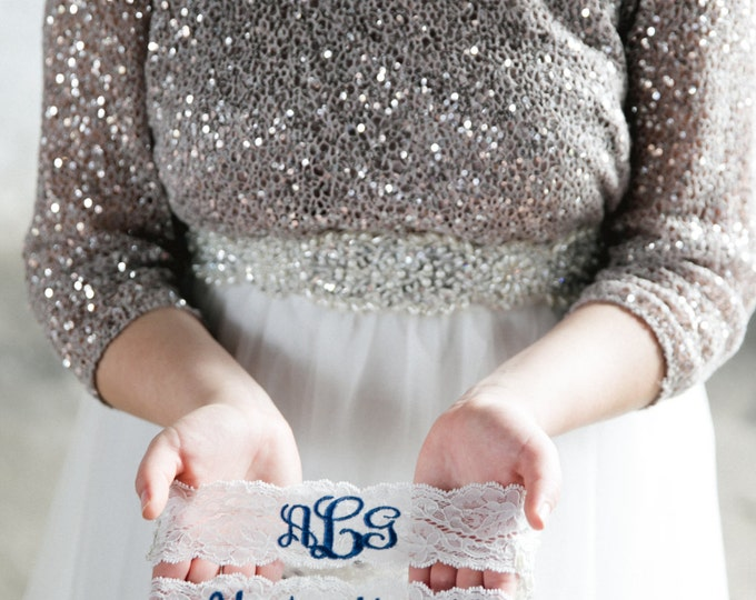MONOGRAMMED GARTER and Youre Next ™ Garter set / Wedding Garter / lace garter / Something Blue