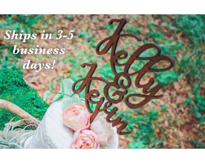 Rustic Barn Wedding Cake Name Topper Wood /  Rustic Wedding Party decor / Personalized Wedding Cake Top