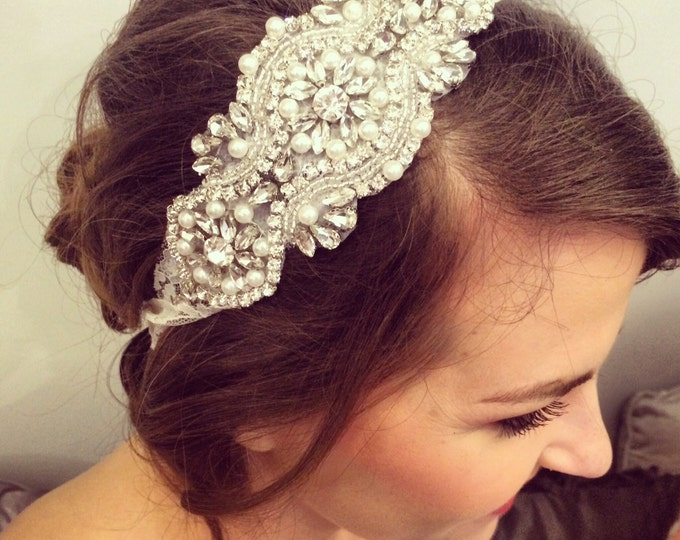 Rhinestone and pearl beaded hair piece / AS SEEN in The Not Wedding / Ivory lace / Boho