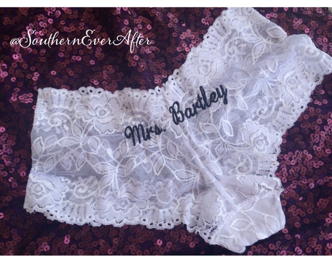 MONOGRAMMED BRIDAL PANTIES / Something Blue Lingerie / Honeymoon Shower / Bridal Shower