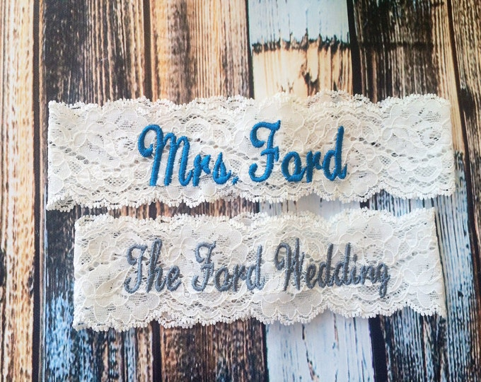 MONOGRAMMED and PERSONALIZED Garter set / Wedding Garter / lace garter