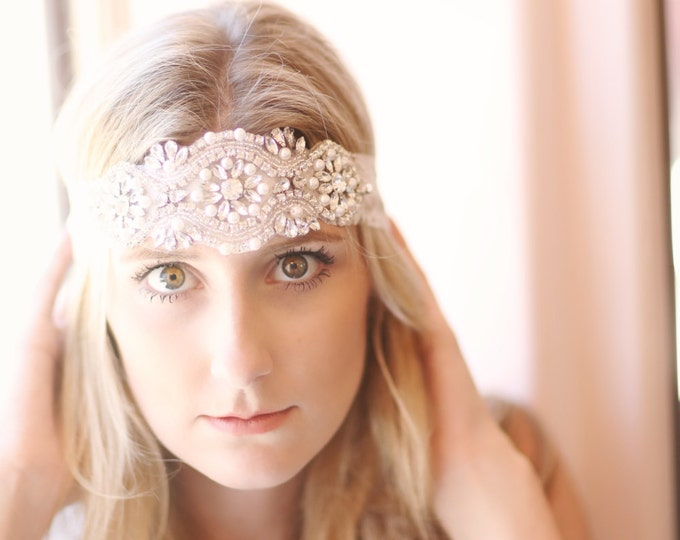 Rhinestone and pearl beaded hair piece / AS SEEN in The Not Wedding & The Overwhelmed Bride / Ivory lace / Boho