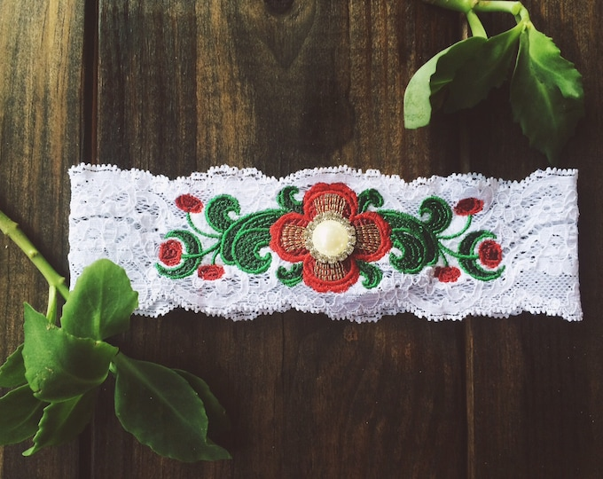 FOLK ART FLOWER Garter / 26,000 Stitches / Spanish Wedding / Bridal Gift