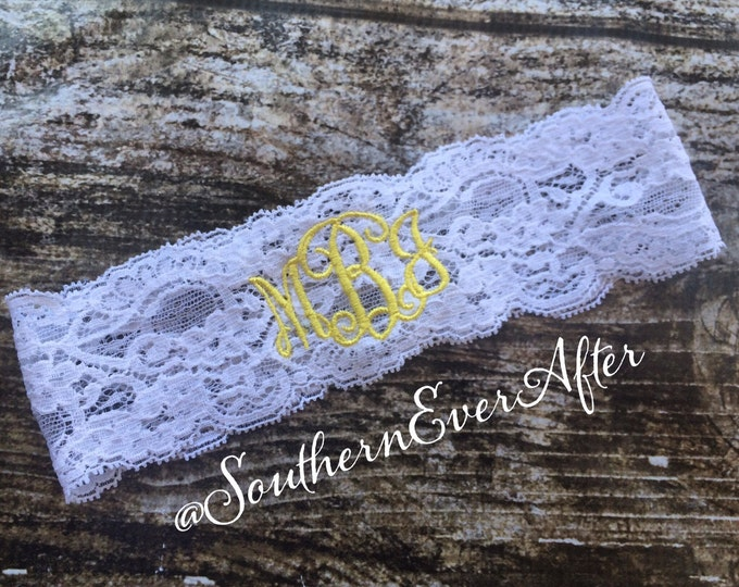 MONOGRAMMED KEEPSAKE ONLY / Yellow Lace Garter / Initials Garter / lace garter / toss garter / Something Blue / vintage garter