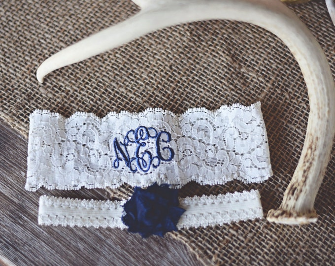 MONOGRAMMED WEDDING GARTER set / Navy Blue Garter / lace garter / Something Blue / vintage garter