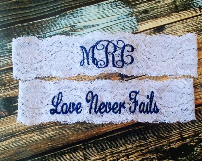 MONOGRAMMED and Love Never Fails Garter set / Wedding Garter / lace garter / Something Blue