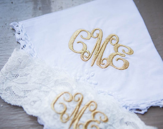MONOGRAMMED HANDKERCHIEF and GARTER Set / Custom Orders Welcome / Embroidered Hanky / Bouquet Wrap / Personalized Handkerchief