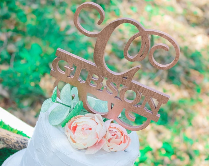 WEDDING CAKE NAME Topper / Ships in 3-5 Business Days / Other colors available / Rose gold Wedding Cake Topper / Anniversary Cake Topper
