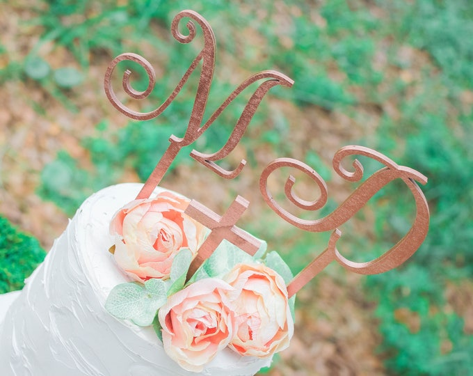 INITIAL LETTER CAKE Topper / Wood Cake Topper / Other colors available / Wedding Cake topper / Anniversary Cake Topper