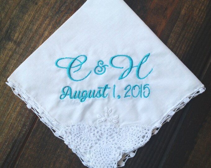 SOMETHING BLUE HANKY / Custom Orders Welcome  / Embroidered Hanky / Bouquet Wrap / Personalized Handkerchief