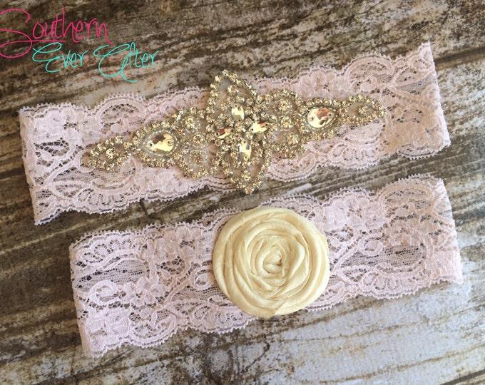 BLUSH PINK Rhinestone Wedding garter / Vintage inspired / bridal garter/ lace garter / toss garter