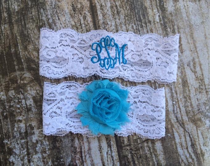 MONOGRAMMED GARTER / Someting Blue Garter / lace garter / toss garter / vintage garter