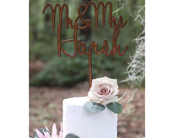 CUSTOM CAKE TOPPER / Wood Cake Topper / Other colors available / Wedding Cake topper / Anniversary Cake Topper