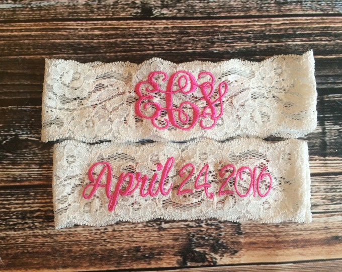 MONOGRAMMED and WEDDING DATE Garter Set / Pink Garter / lace garter / toss garter / vintage garter
