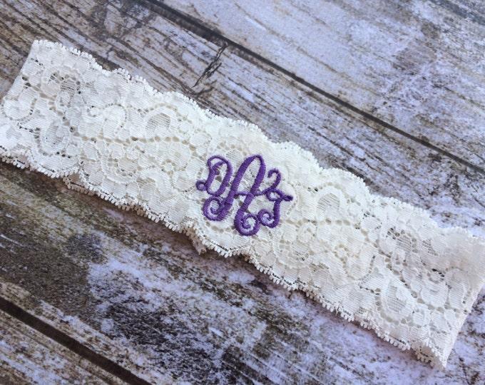 MONOGRAMMED GARTER / KEEPSAKE only / Purple Garter / lace garter / toss garter / Something Blue / vintage garter