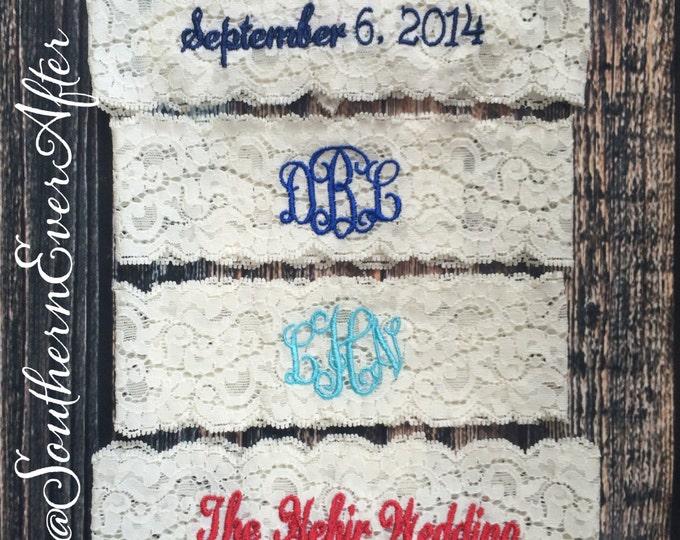 MONOGRAMMED GARTER / KEEPSAKE only / Choose color and monogram / lace garter / toss garter / Something Blue / vintage garter