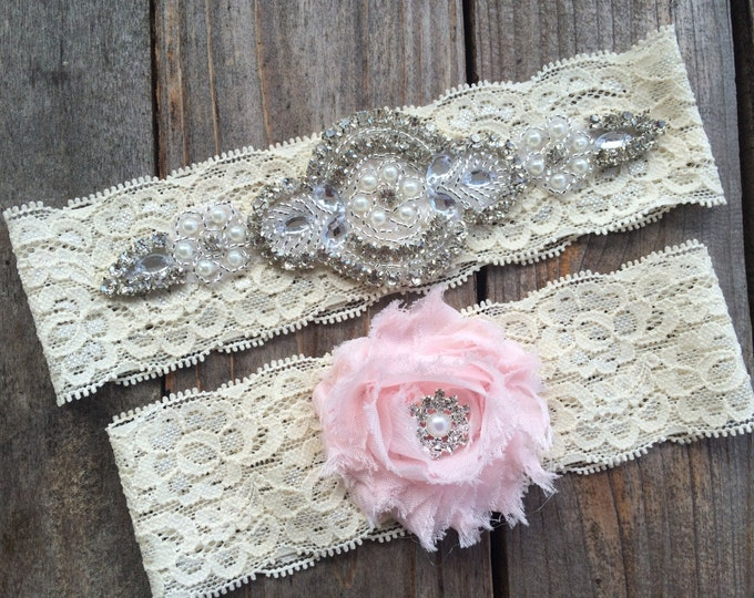 PEARL and RHINESTONE GARTER set / wedding garter / lace garter set / Rustic garter