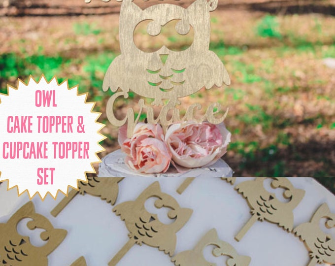 OWL NAME CAKE Topper and cupcake topper set / wood toppers / Girls Birthday / Owl Birthday / Other colors available