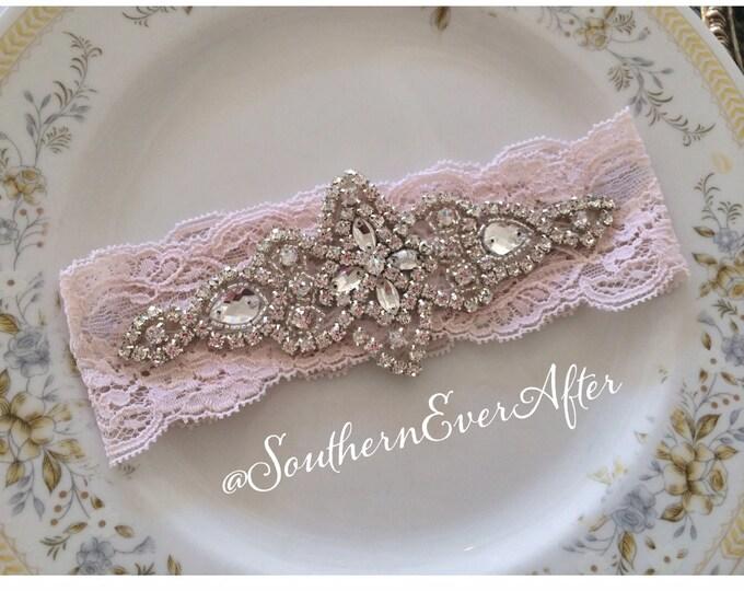 BLUSH PINK GARTER / Keepsake only / Vintage inspired / bridal garter/ lace garter / toss garter