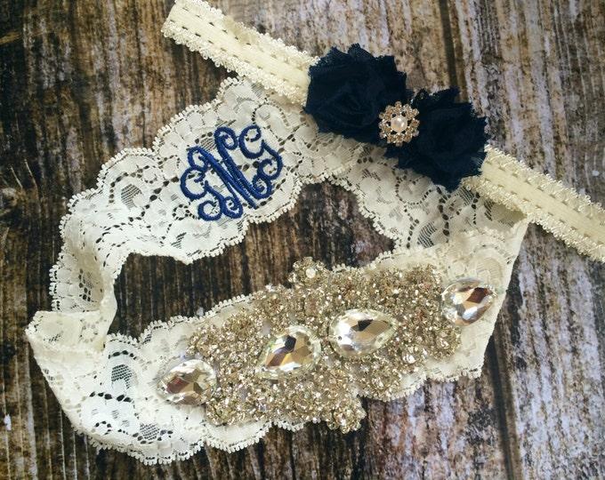 MONOGRAMMED RHINESTONE GARTER Set / Something Blue wedding garter / Navy Blue / lace garter set / Rustic garter