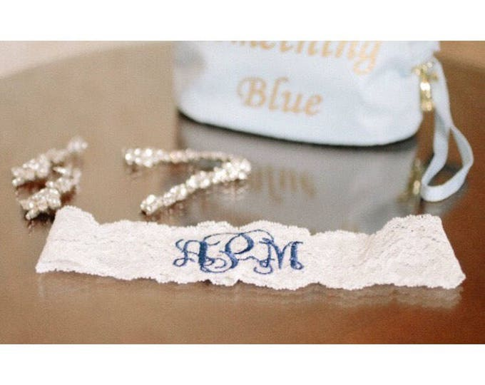 MONOGRAMMED GARTER / KEEPSAKE only / Something Blue / Blue Garter / lace garter / toss garter / Something Blue / vintage garter