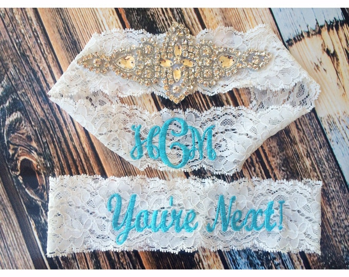 Vintage Inspired and You're Next GARTER Set ™ / Choose Thread Color / Something Blue