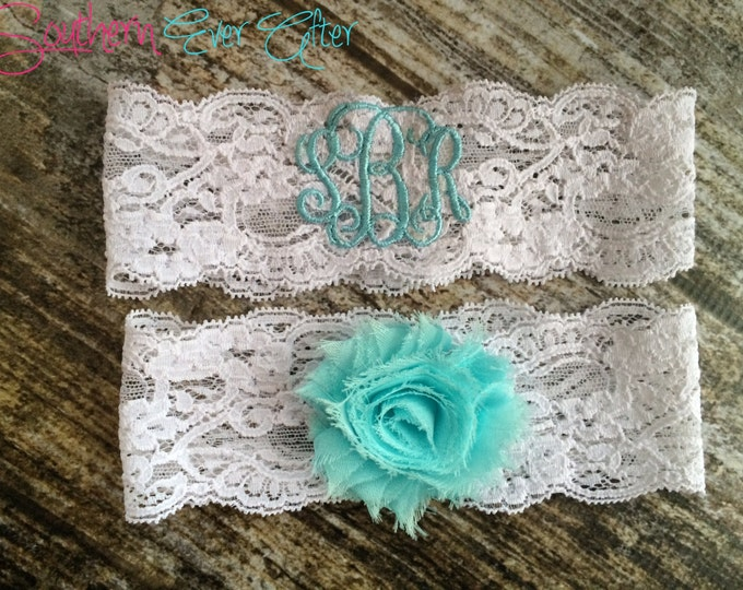 MONOGRAMMED GARTER / Something Blue / Blue Garter / lace garter / toss garter / Something Blue / vintage garter