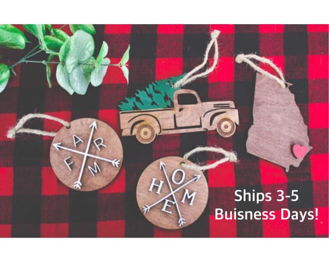 Wood Christmas Ornaments / Rustic Ornaments / Farmhouse Christmas Ornaments