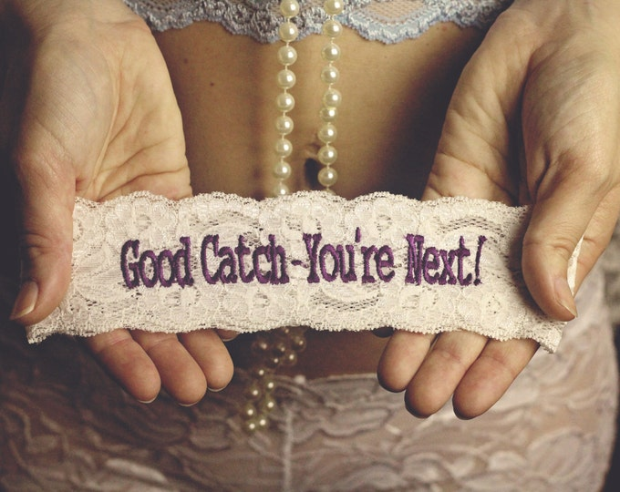 Purple YOU'RE NEXT ™ Garter / Wedding Garter / lace garter / toss garter