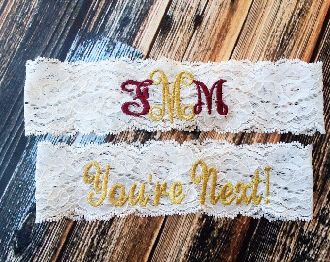 MONOGRAMMED and YOURE NEXT ™ Garter set / Wedding Garter / lace garter
