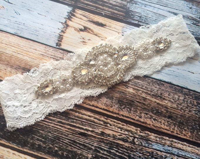 PEARL RHINESTONE GARTER Flash Sale / bridal garter/ lace garter /Something Blue wedding garter / Shabby Chic