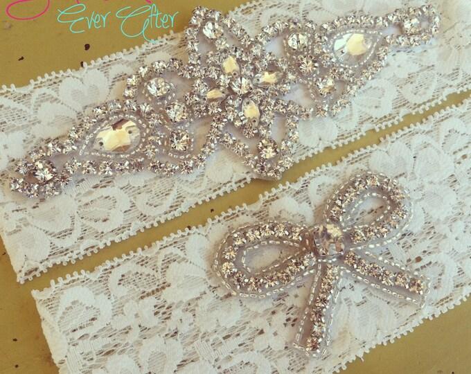 Vintage Inspired Rhinestone Wedding garter / bridal garter/ lace garter / Shabby Chic