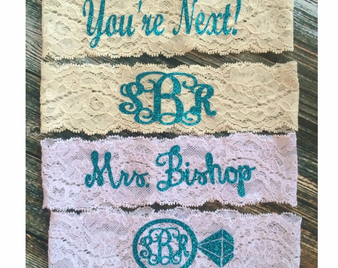 PERSONALIZED BLING GARTER / Monogrammed garter / Wedding Garter / lace garter / Something Blue