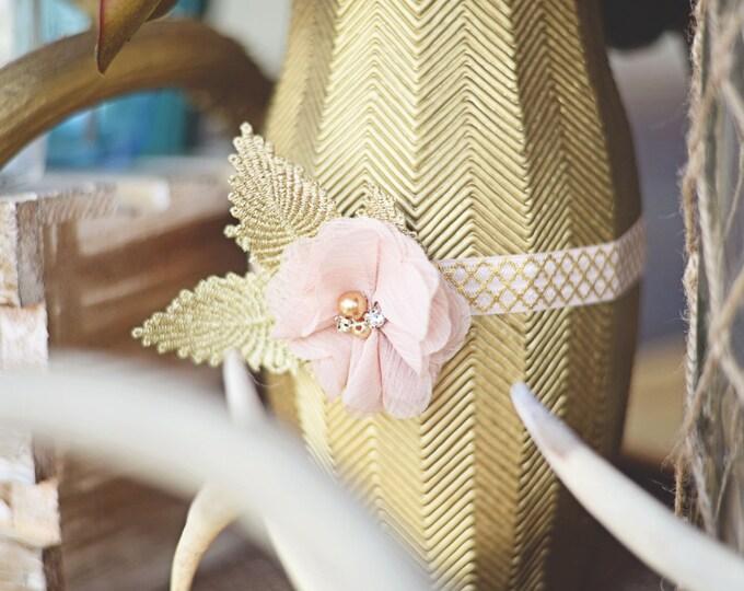 GOLD BLUSH GARTER / Keepsake only / Pearl and lace garter / toss garter / vintage garter