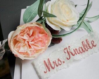PERSONALIZED BLING Bridal Garter / Wedding Garter / lace garter / Something Blue
