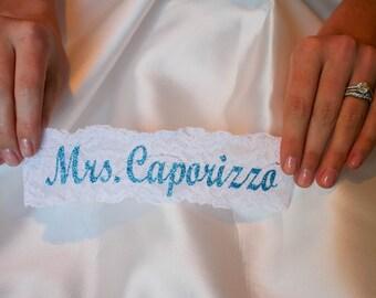 PERSONALIZED BLUE BLING Bridal Garter / Wedding Garter / lace garter / Something Blue