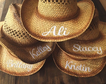 Personalized Monogrammed Cowgirl Hat for Bachelorrette Party Honeymoon Straw Hat Beach Hat