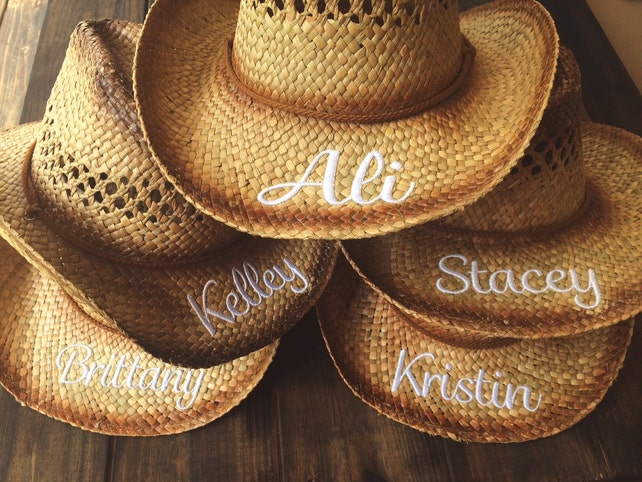 PERSONALIZED COWGIRL HATS / Bachelorette Party Gift / Bride / Bridesmaid / Monogrammed Initials Hat
