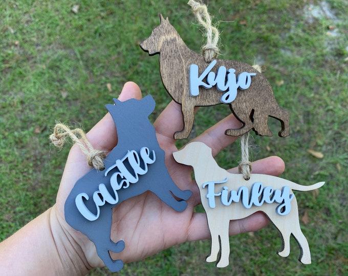 PERSONALIZED DOG ORNAMENT with name Wood Ornament / Dog gift / Dog Lover / Gift for Dog / New Dog / Custom Dog Ornament / Dog Adoption