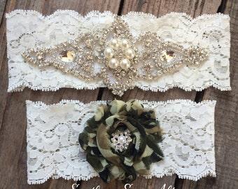 PEARL and CAMO Garter Set / bridal garter/ lace garter / toss garter / vintage / Shabby Chic