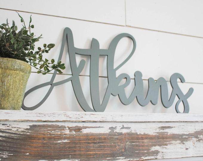 Wood Name Sign, Nursery Name Sign, Wood Script Name, Above Crib Name, Script Wedding Name, Cursive Name, Custom Sign