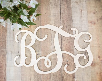 Monogrammed Wood Sing UNFINISHED / House Warming Gift / Wedding Gift / Home Decor /