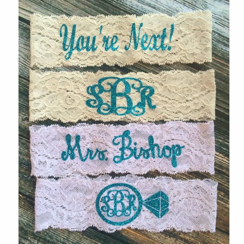 PERSONALIZED BLING GARTER  Monogrammed garter  Wedding Garter  lace garter  Something Blue
