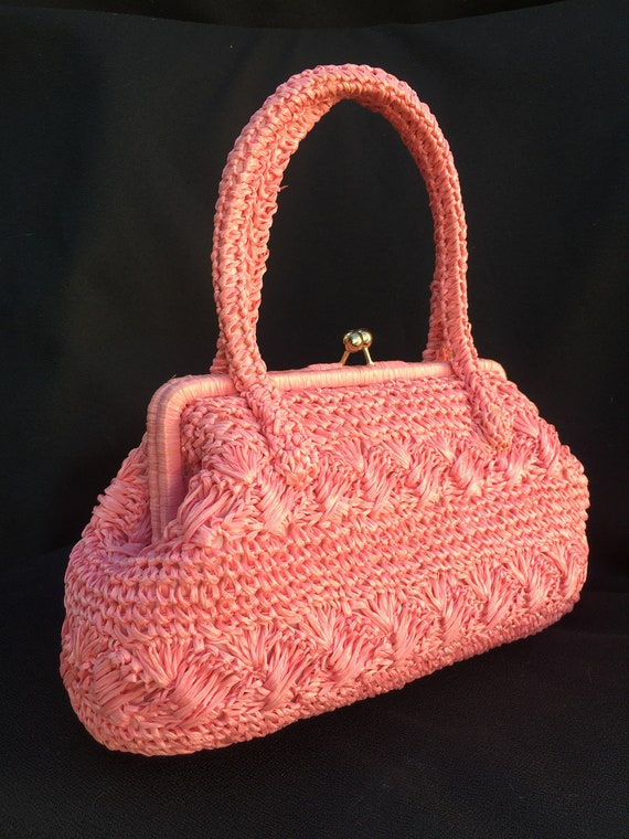 vintage Large Raffia 1950s 1960s Pink woven straw