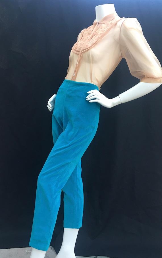 Vintage 1950s 50s Turquoise blue velvet cigarette