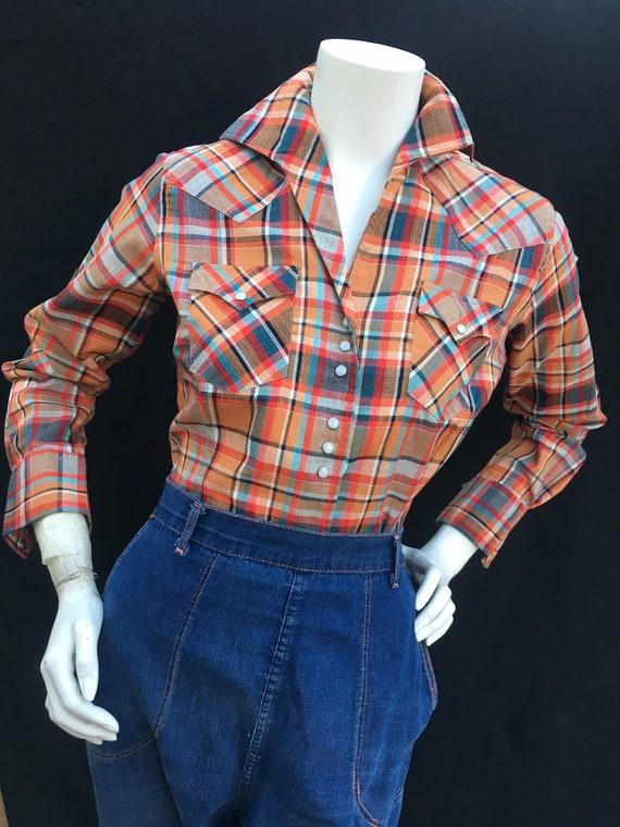 Vintage 1940s 1950s Western Plaid shirt/Blouse MI… - image 1